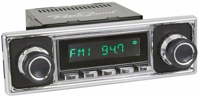 RetroSound 1955-66 Mercedes Benz 220 Long Beach Radio with Solid Black/Chrome Faceplate