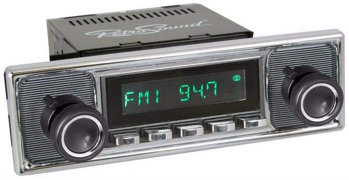 RetroSound 1964-72 Mercedes Benz 600 Long Beach Radio with Pinstripe/Chrome Faceplate