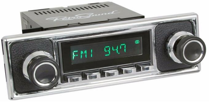 RetroSound 1964-72 Mercedes Benz 600 Long Beach Radio with Black Pebbled/Chrome Faceplate