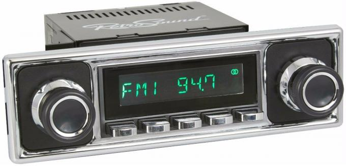 RetroSound 1955-63 Mercedes Benz 180 Long Beach Radio with Solid Black/Chrome Faceplate