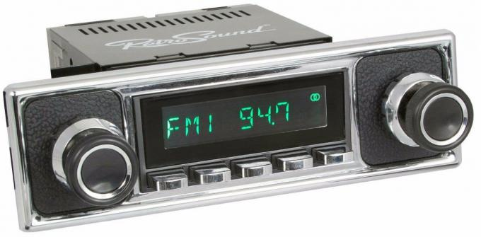 RetroSound 1956-59 Mercedes Benz 219 Long Beach Radio with Black Pebbled/Chrome Faceplate