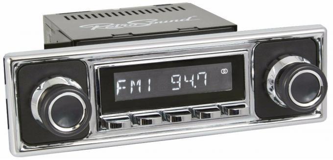 RetroSound 1963-69 Mercedes Benz 230 Series Long Beach Radio with Solid Black/Chrome Faceplate